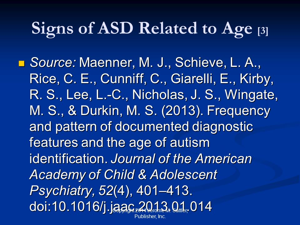 Signs of ASD Related to Age [3]